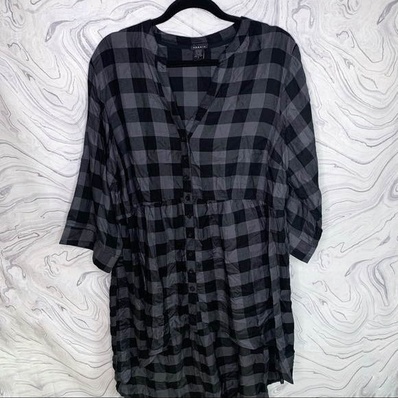 torrid Dresses & Skirts - Torrid Plaid High Low Button Up Dress size 2